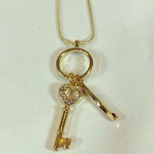 Crystal Key gold tone necklace